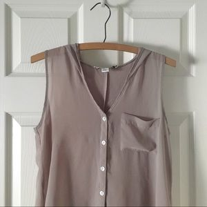 Sheer Sleeveless Hooded Button Up Top w/ Pocket
